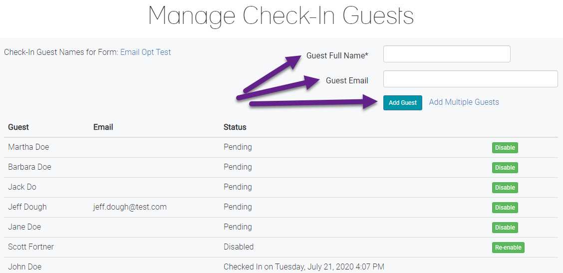 Add a Check-In Guest