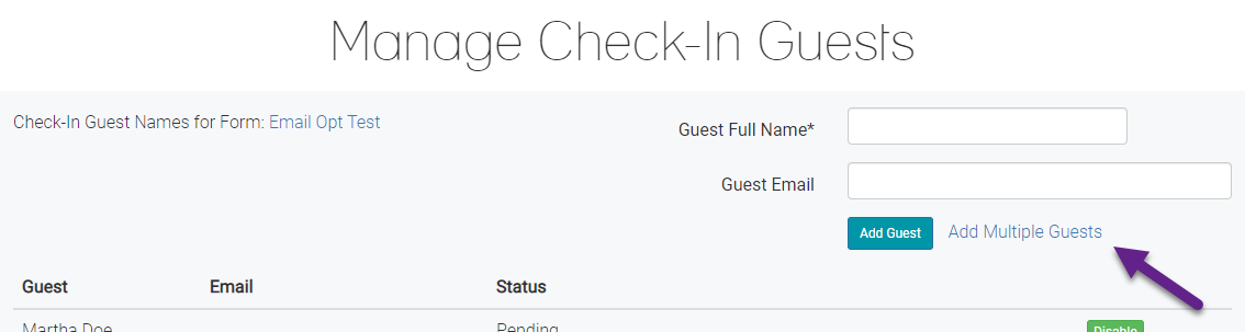 Manage Check-in Guests
